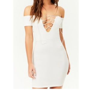 Ribbed off the shoulder body con
